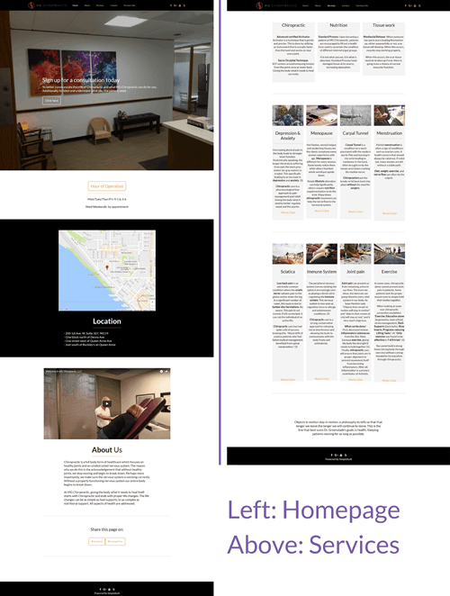 Hummingbird Marketing Services Portfolio: MG Chiropractic's Website Before
