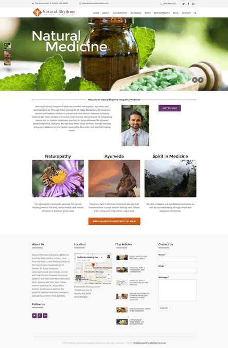 Hummingbird Marketing Services Portfolio: Natural Rhythms Integrative Medicine's Site Today