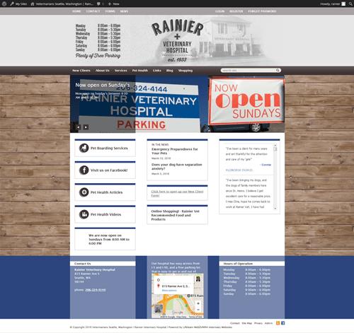 Hummingbird Marketing Services Portfolio: Rainier Veterinary Hospital's Website Before
