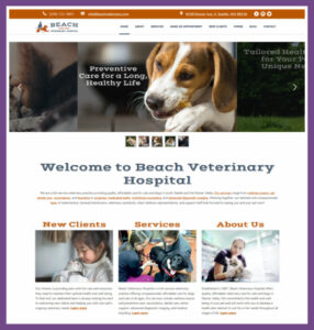 Beach Veterinary Hospital, a Website Designed by Hummingbird Marketing Services