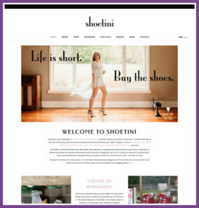Shoetini, a Website Designed by Hummingbird Marketing Services