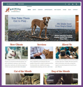 Rainier Veterinary Hospital, a Website Designed by Hummingbird Marketing Services