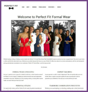 Perfect Fit Formal Wear, a Website Designed by Hummingbird Marketing Services